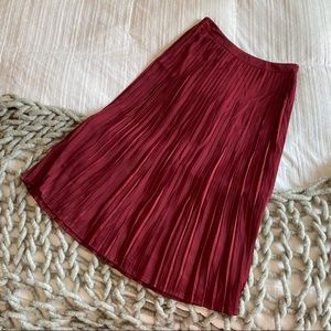 Mossimo Red Pleated Zip Up Midi Skirt